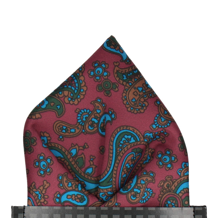 Burgundy Red Stylish Paisley Pocket Square