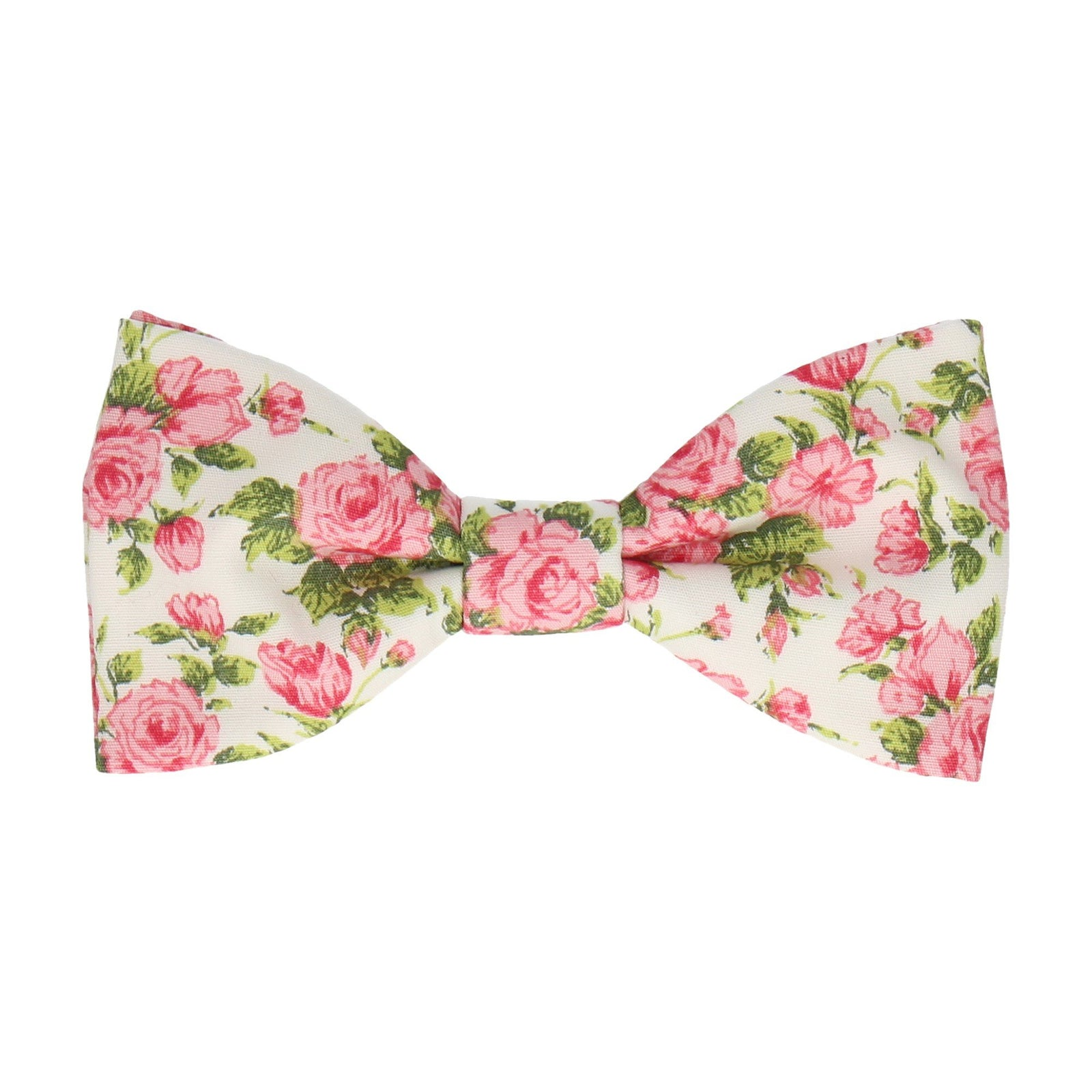 Pink Roses White Cotton Bow Tie