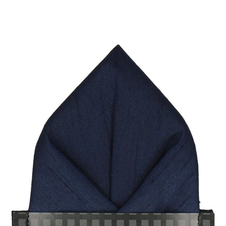 Navy Blue Faux Silk Pocket Square