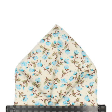 Light Blue & Off White Ditsy Floral Pocket Square