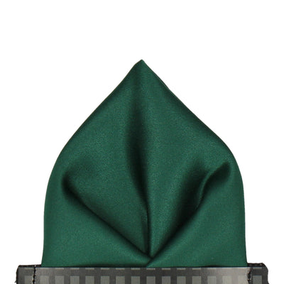 Satin in Bottle Green Pocket Square