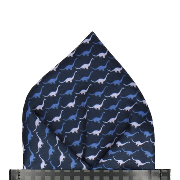 Navy & Blue Dinosaur Brontosaurus Pocket Square