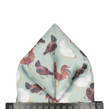 Chickens in Pale Green Pocket Square