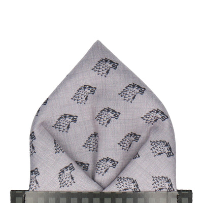 Wolf Sigil House Stark Pocket Square