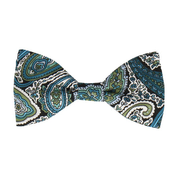 Teal Traditional Paisley Bow Tie