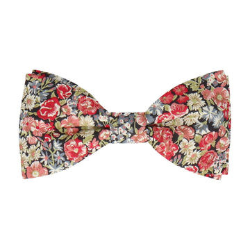 Red Floral Chive Liberty Cotton Bow Tie