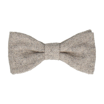 Herringbone Light Grey Textured Woollen Bow Tie