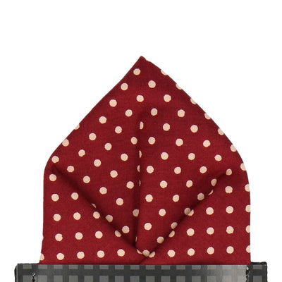 Burgundy Red Polka Dots Pocket Square