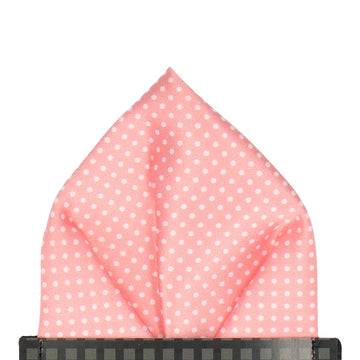 Soft Coral Pin Dots Pocket Square