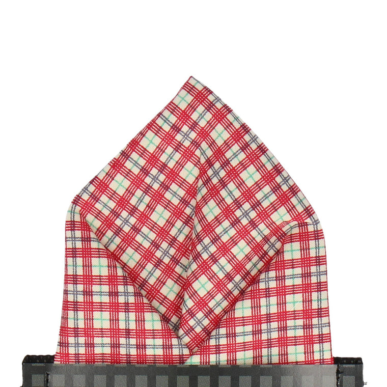 Small Check Red Pocket Square