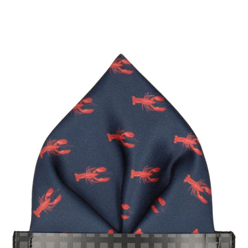 Nautical Navy Blue Lobsters Pocket Square