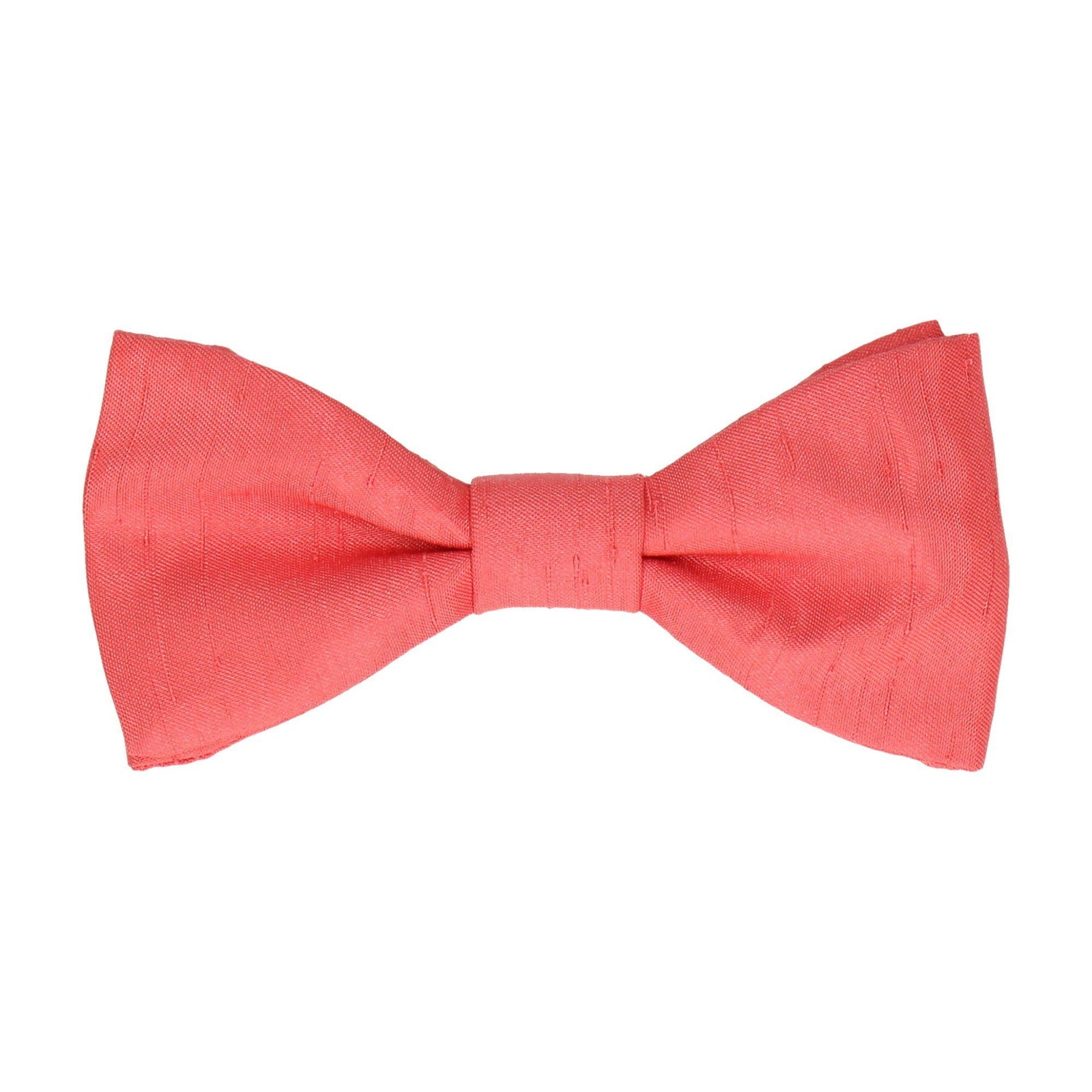 Hot Coral Faux Silk Bow Tie