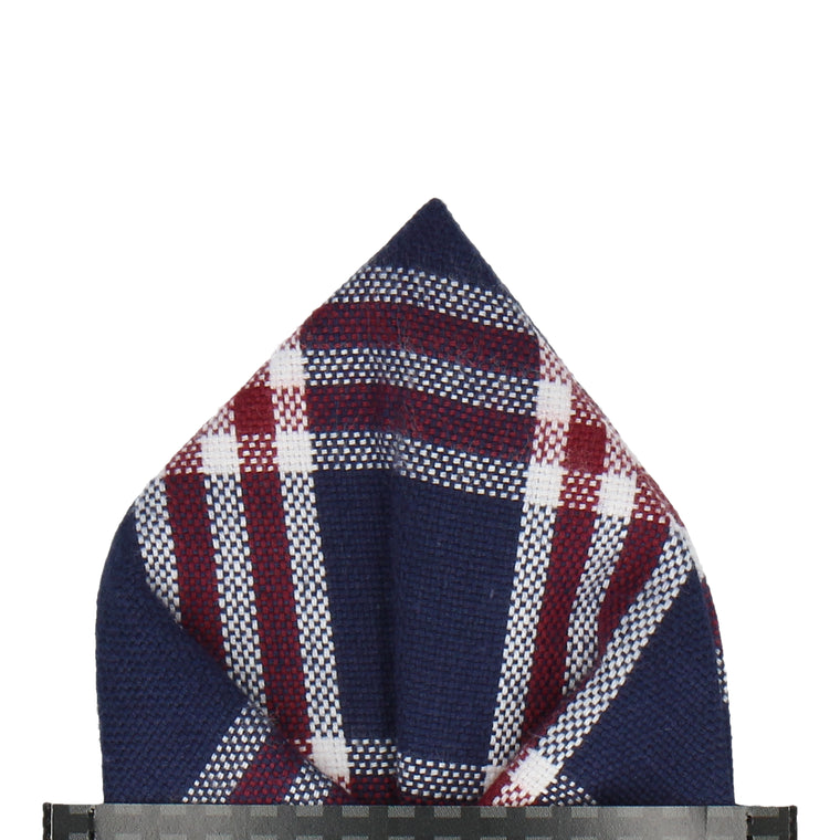 Navy Blue & Red Check Pocket Square