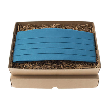 Peacock Blue Faux Silk Cummerbund