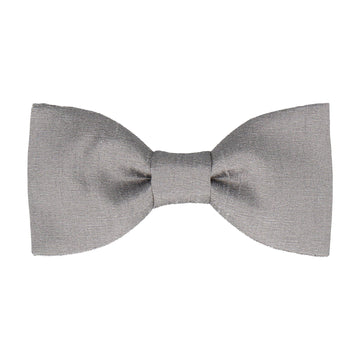 Dove Grey Faux Silk Bow Tie