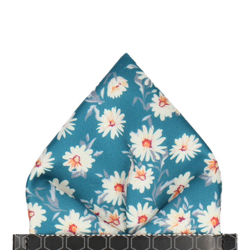 Daisy Print Emerald Sea Teal Pocket Square