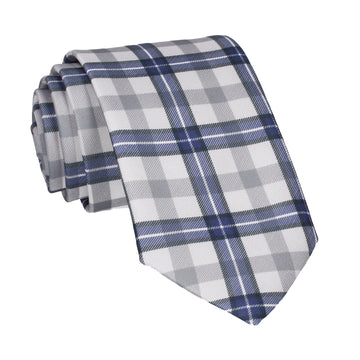 Grey Tartan Plaid Print Tie