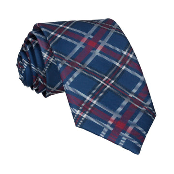 Navy Blue & Mulberry Plaid Tartan Tie