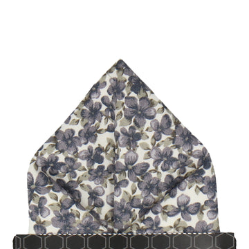Blue Grey Floral Cotton Pocket Square