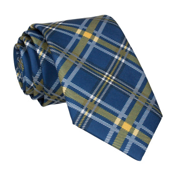 Navy Blue & Yellow Plaid Tartan Tie