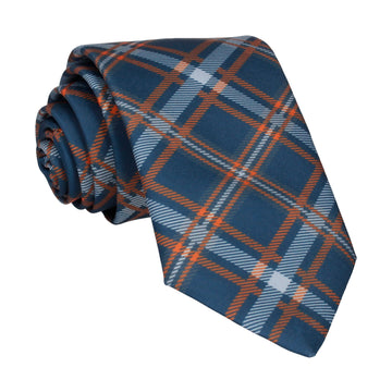 Navy Blue & Orange Plaid Tartan Tie