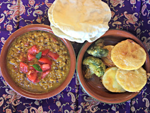 Red Lentil Dhal with Baked Pakoras