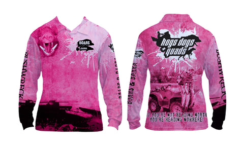 Boars and Barra Shirt Pink Long Sleeve - Hogs Dogs Quads Shop