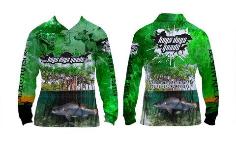 Boars & Barra Shirt Long Sleeved- Green - Hogs Dogs Quads Shop