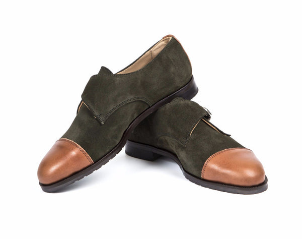 Monk-Strap Olive Brown Leather Handmade Suede Women