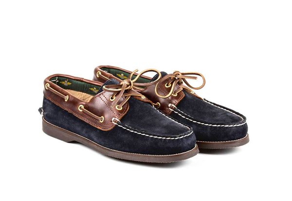 Boat Shoe Blue Suede Brown Leather