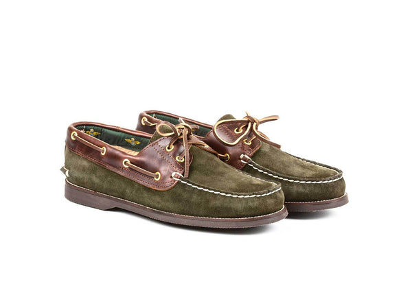Boat Shoe Green Suede Brown Leather