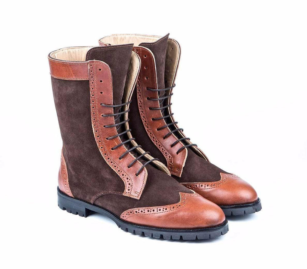 Combat Mocha Caramel Brown Leather Suede Woman