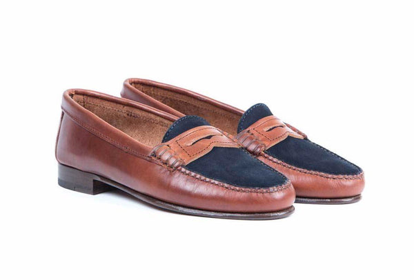Penny Loafer Blue Suede Brown Leather