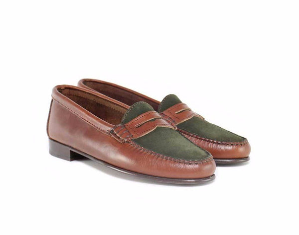 Penny Loafer Green Suede Brown Leather