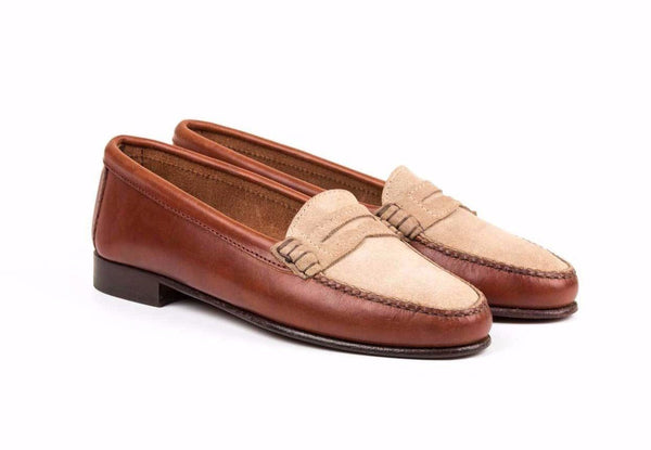 Penny Loafer Sand Suede Brown Leather