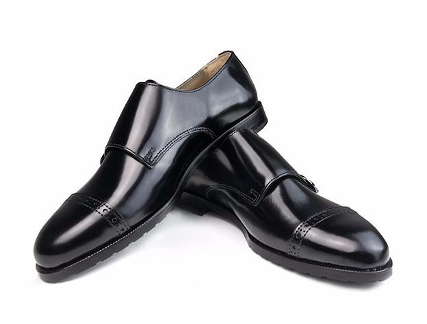 Double Monk-Strap Black Leather Midnight Polished