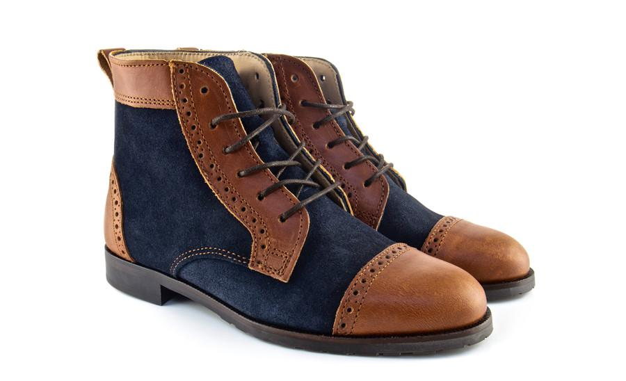 Navy Blue Suede Brown Leather Boots