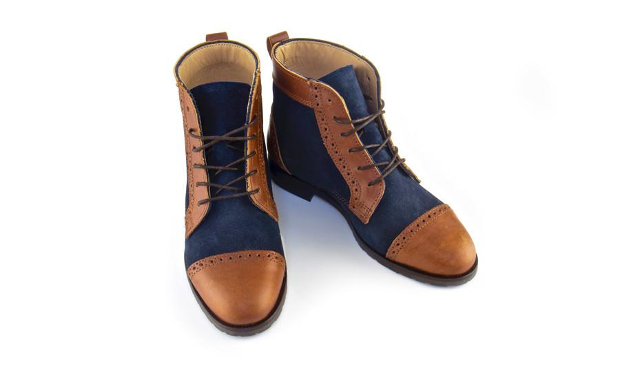 Navy Blue Suede Combined with Brown Leather Boots