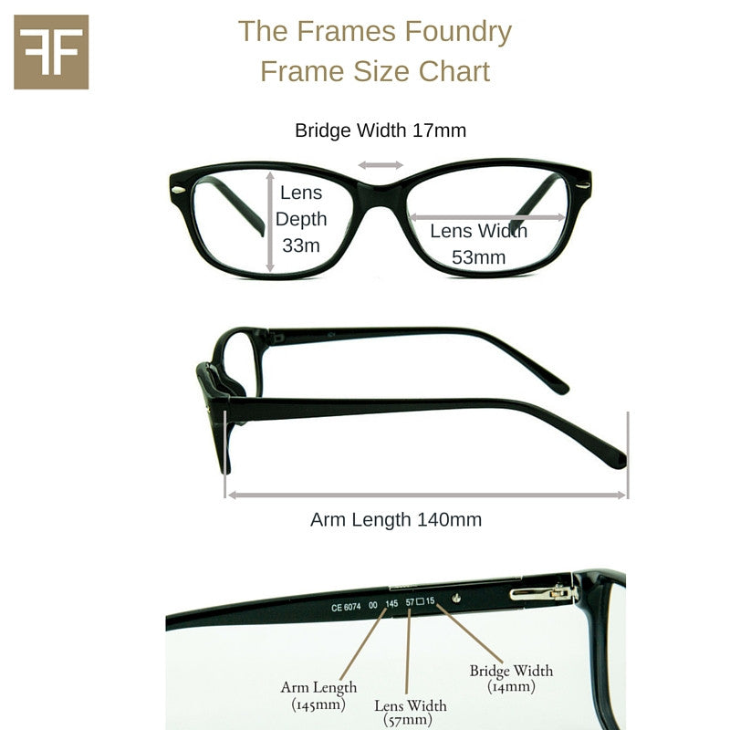 Eyeglass Frames Size Chart : Icy 176 Rounded Wayfarer Glasses in Two-Tone and Crystal ...