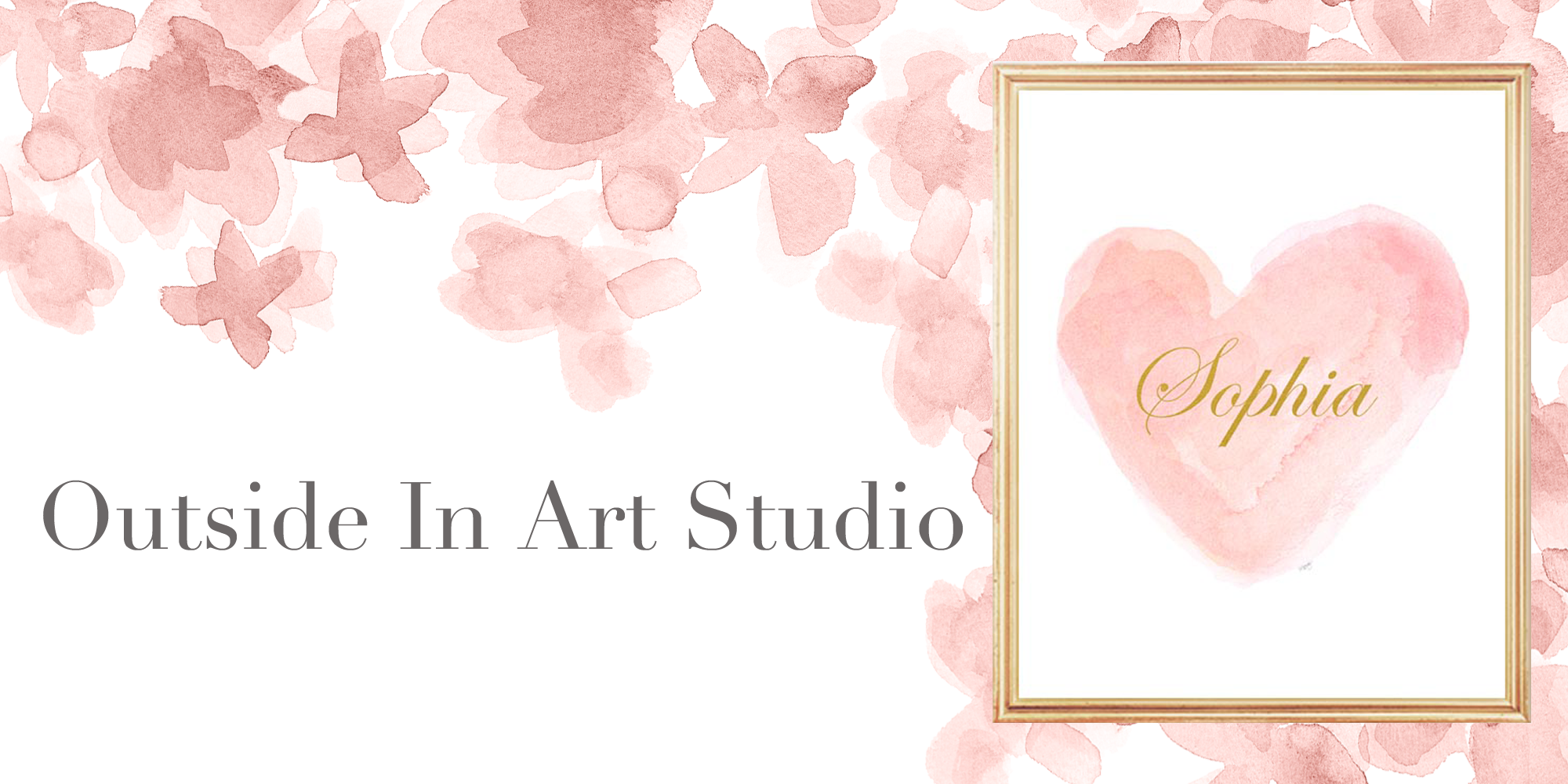 Outside In Art Studio shop Logo with heart print