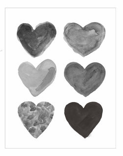 black and gray heart collage art print