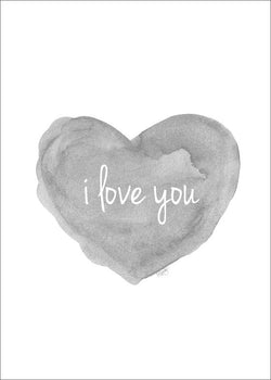 gray heart with i love you-art print