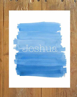 Boys personalized ombre art print in blue