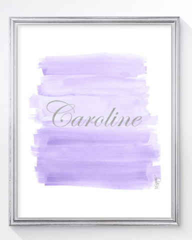Lavender ombre girls art print-persoalized with silver lettering