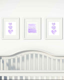 Lavender and Silver Ombre and Hearts-Personalized Set of 3
