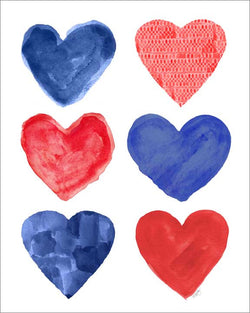 red and blue heart collage art print