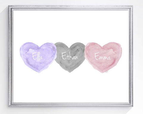 triplets personalized art print-lavender, gray and pink