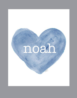boys personalized art print-blue heart