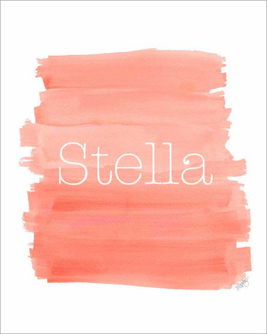 coral ombre art print personalized with name