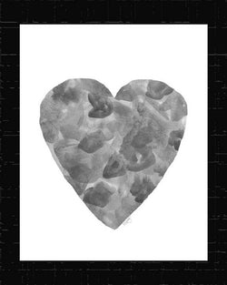 black and gray abstract watercolor heart art print